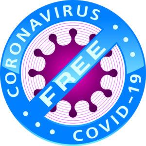 Coronavirus COVID-19 FREE badge. Virusfree vector icon.